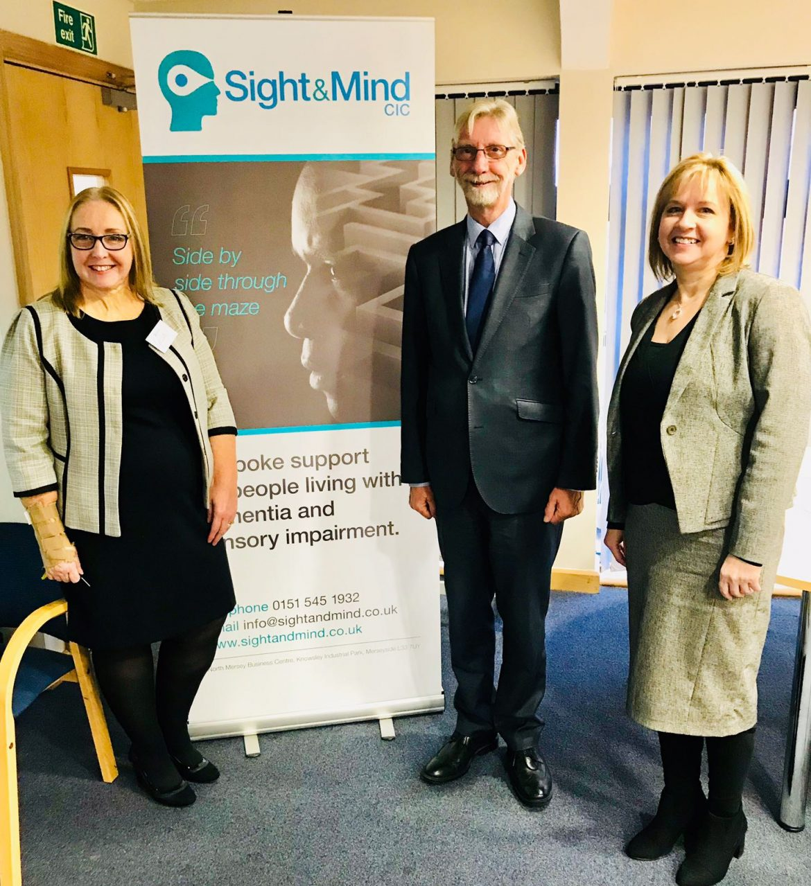 Cecilia Toole (left) at the Launch of Sight and Mind. Pictured with Sir George Howarth MP and Julie Moss, KMBC