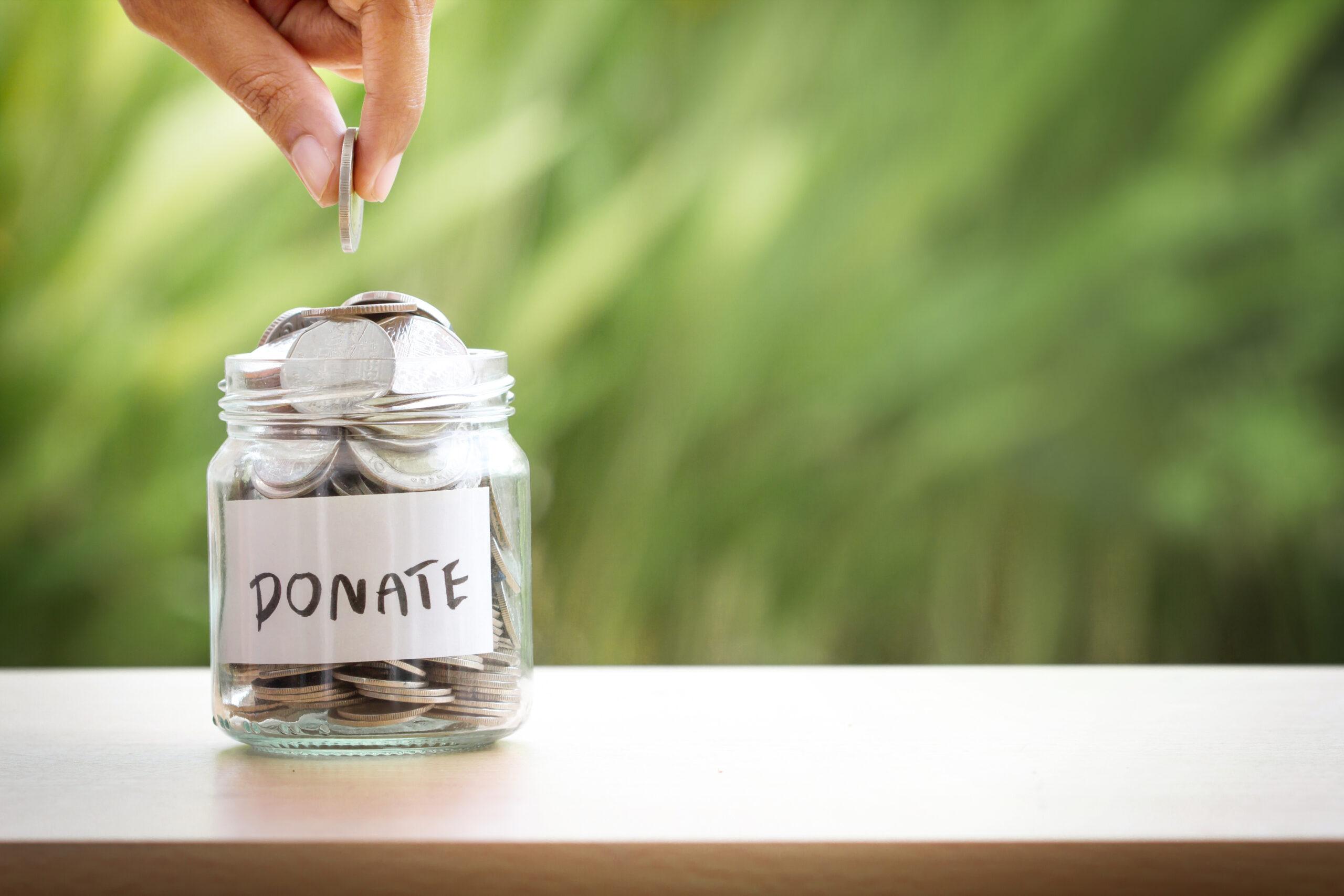 money in donation jar